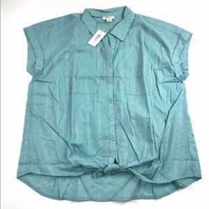 Style & Co Knotted Button Front Shirt Sz XXL